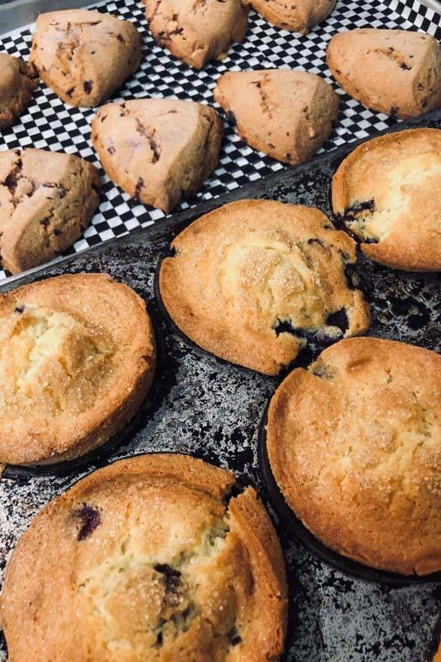 Warm muffins fresh from the oven